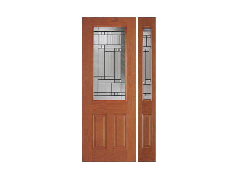 Woodgrain fiberglass door with single sidelight orlando for Energy efficient entry doors